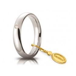 Fede 1AR Comoda 4 mm Oro Bianco con Diamante