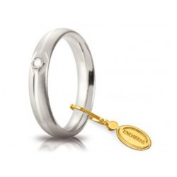Fede 1AR Comoda 4 mm Oro Bianco Satinata Diamante